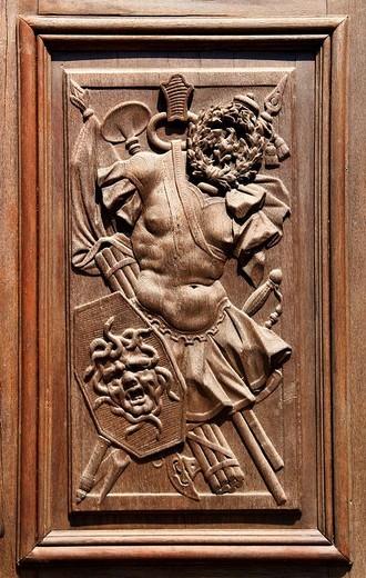 Stock Photo: 1848-136053 Wooden relief on a door, detail, German Historical Museum, Berlin, Germany, Europe