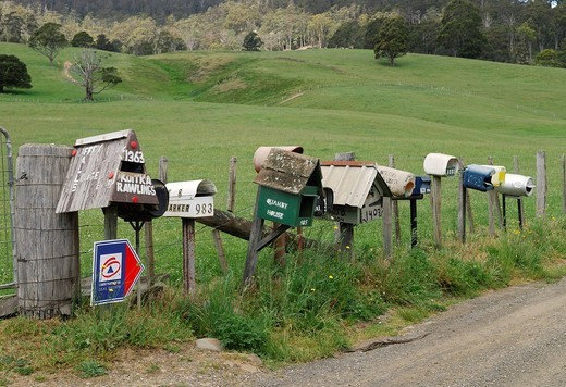 Letter boxes of various farm houses near Deloraine, Tasmania, Australia : Stock Photo