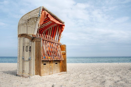 Canopied beach chair at the Baltic Sea, Niendorf, Schleswig_Holstein, Germany, Europe : Stock Photo