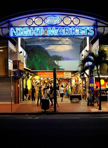 Night scene Night Markets, shopping mall, Cairns, Queensland, Australia : Stock Photo