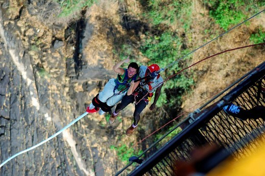 Bungee Jumping from the Victoria Falls Bridge, Zambia, Zimbabwe : Stock Photo