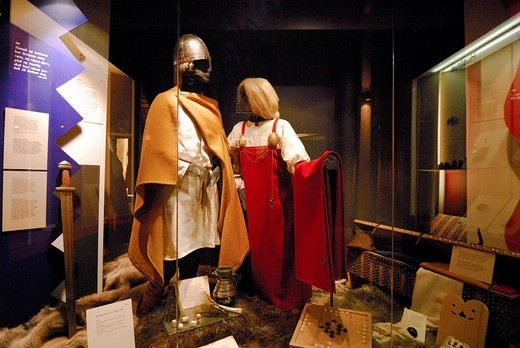 Garments, viking museum, Bostad Borg, Lofoten, Nordland, Norway : Stock Photo