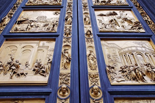 Stock Photo: 1848-137881 Bronze door to the Florence Paptistery or Battistero di San Giovanni or Baptistery of St John, early Renaissance masterpiece by Lorenzo Ghiberti, Florence, UNESCO World Heritage Site, Tuscany, Italy, Europe