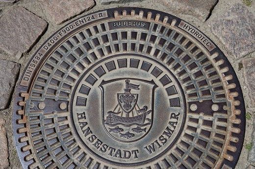 Stock Photo: 1848-138046 Coat of arms of Wismar on a manhole cover, Wismar, Mecklenburg_Western Pomerania, Germany, Europe