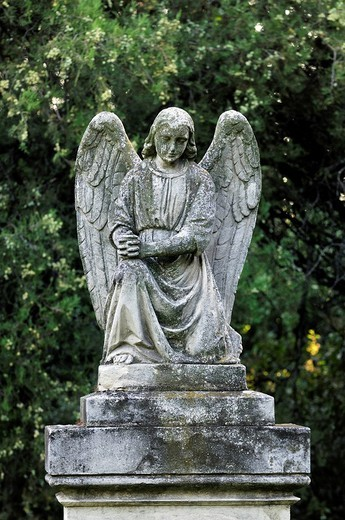 Stock Photo: 1848-138239 Angel on a grave at St. Marx Cemetery, Biedermeierfriedhof, Vienna, Austria, Europe
