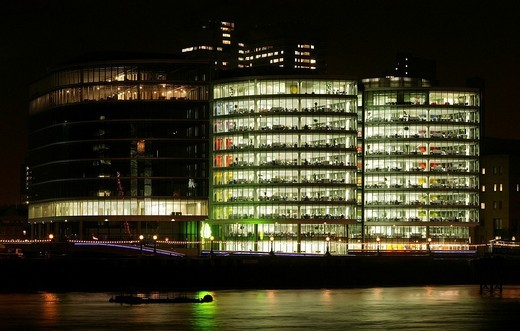 Stock Photo: 1848-138280 Night shot of an illuminated office building in London, England, Great Britain, Europe