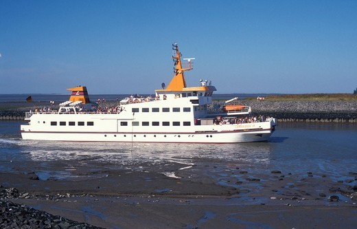 Ferry from the Langeoog island arriving at Bensersiel, ferry service, ship, North Sea, North Sea coast, Lower Saxony, Germany, Europe : Stock Photo