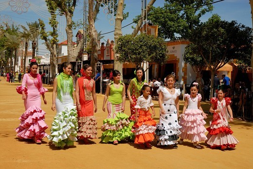 Stock Photo: 1848-139045 Girls in traje de gitana , Feria de Caballo , Jerez de la Frontera , Cadiz , Andalusia , Spain , Europe