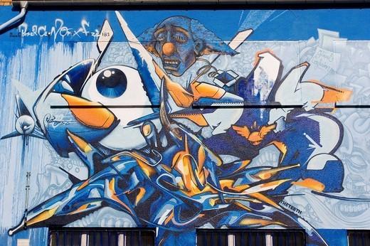 Graffiti art on a house facade : Stock Photo