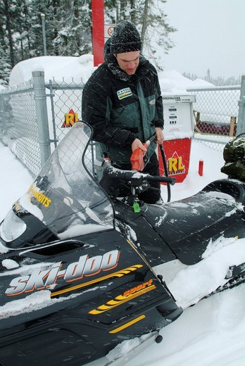 CAN, Canada , Quebec : Snowmobiles in the region of Saguenay _ Lac Saint Jean, Monts Valin : Stock Photo