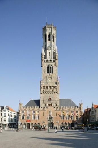 Marketplace, Belfried belfry, Bruges, Flanders, Belgium, Europe : Stock Photo