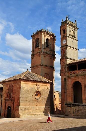 Church towers Torres del Tardón and de la Trinidad, Alcaraz, Albacete province, Spain : Stock Photo