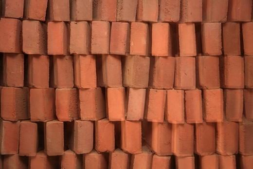 Bricks of a disused brick yard on the Flensburger Foerde, Flensburg Fjord, Cathrinesminde, South Jutland, Denmark : Stock Photo