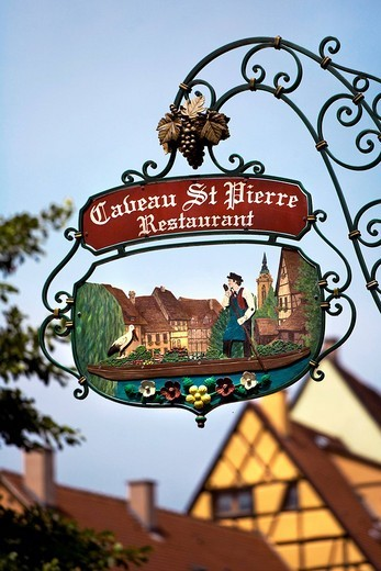 Sign, restaurant, historic town centre, Alsace, France, Europe : Stock Photo