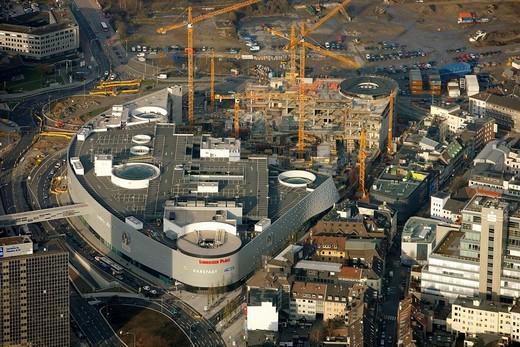 Aerial photograph, Limbecker Platz shopping mall, Berliner Platz, Essen, Ruhr Area, North Rhine_Westphalia, Germany, Europe : Stock Photo