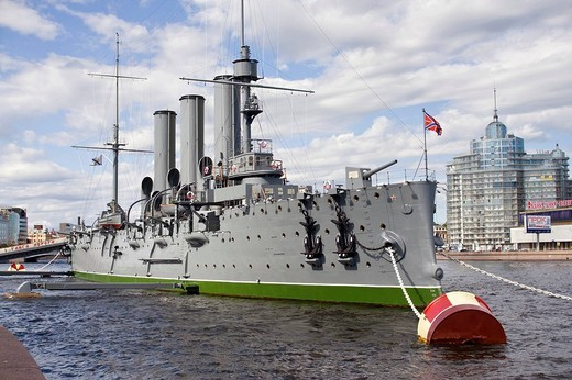 Russian memorial cruiser Aurora, built in 1902, St. Petersburg, Russia : Stock Photo