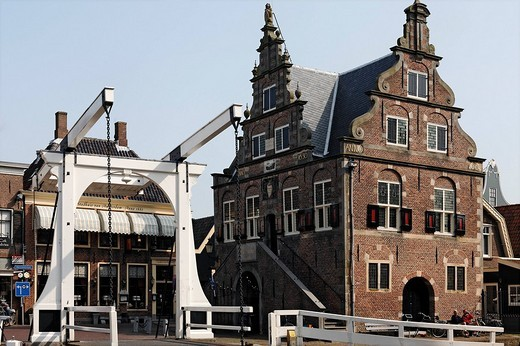 Stock Photo: 1848-140576 Drawbridge and former city hall from the 17th century, De Rijp near Alkmaar, Province of North Holland, Netherlands, Europe