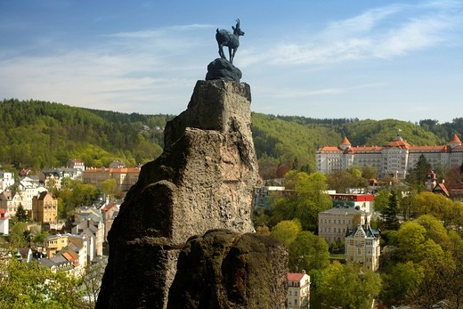 View of Karlovy Vary from Jelení skok, baroque Mary Magdalene Church, West Bohemia, Czech Republic, Europe : Stock Photo