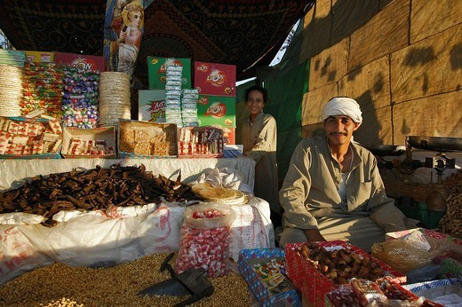 Market stall, Maries festival, Bayad Monastery, Beni Suef, Central Egypt, Africa : Stock Photo