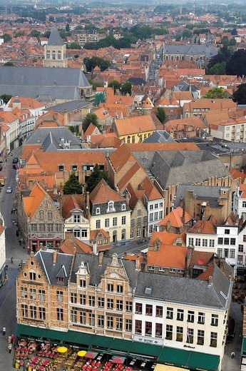 Markt, Market Place, view from the Belfry, Bruges, West Flanders, Belgium, Europe : Stock Photo