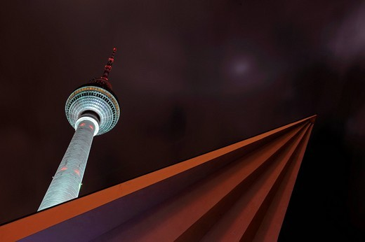 Berlin´s TV tower, illuminated, Festival of Lights 2009, Alexanderplatz, Berlin, Germany, Europe : Stock Photo