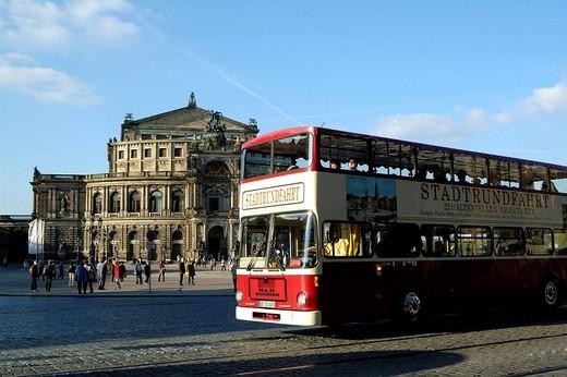 Theatre square Semper opera city tour Dresden Saxony Germany : Stock Photo