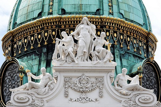 Sculptural decoration and cupola of the Michaeler part of the Hofburg, Vienna, Austria : Stock Photo