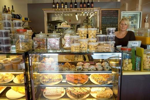 Rebeccas Cafe, counter, Port Fairy, Great Ocean Road, Victoria, Australia : Stock Photo
