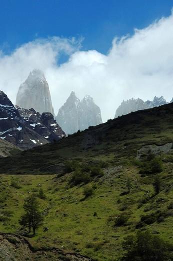 Stock Photo: 1848-141465 Torres del Paine from Valle Ascencio, Torres del Paine National Park, Patagonia, Chile Torres del Peine
