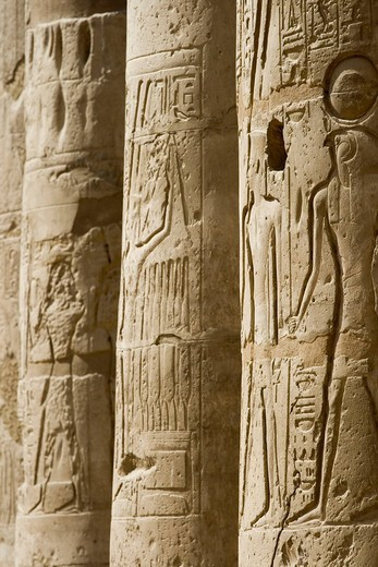 Hieroglyphs on columns in the Great Court, Luxor Temple, Luxor, Nile Valley, Egypt, Africa : Stock Photo
