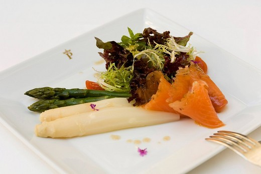 White and green asparagus with salad and marinated salmon dish served at the Parador Hotel restaurant, Granada, Andalusia, Spain, Europe : Stock Photo