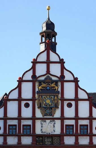 Renaissance gable, multifunctional clock, sun dial, old townhall, Plauen, Vogtland, Saxony, Germany : Stock Photo