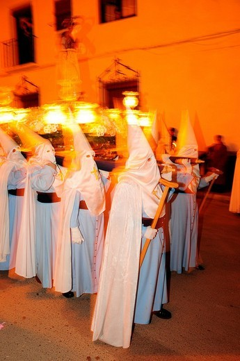 Stock Photo: 1848-141814 Penitents wearing penitential robes nazareno, Holy Week procession, Semana Santa, Belmonte, Castilla_La Mancha region, Spain