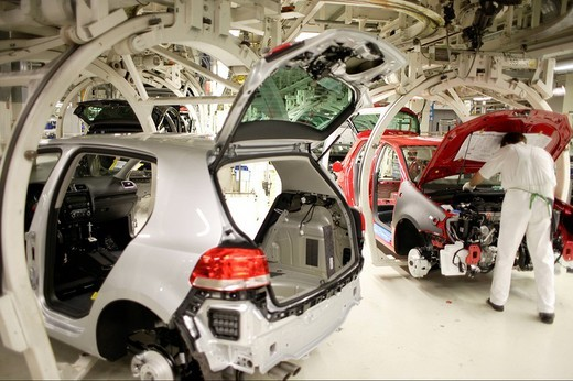 Stock Photo: 1848-142271 Golf car production, VW Werk Wolfsburg, VW car factory Wolfsburg, Lower Saxony, Germany, Europe