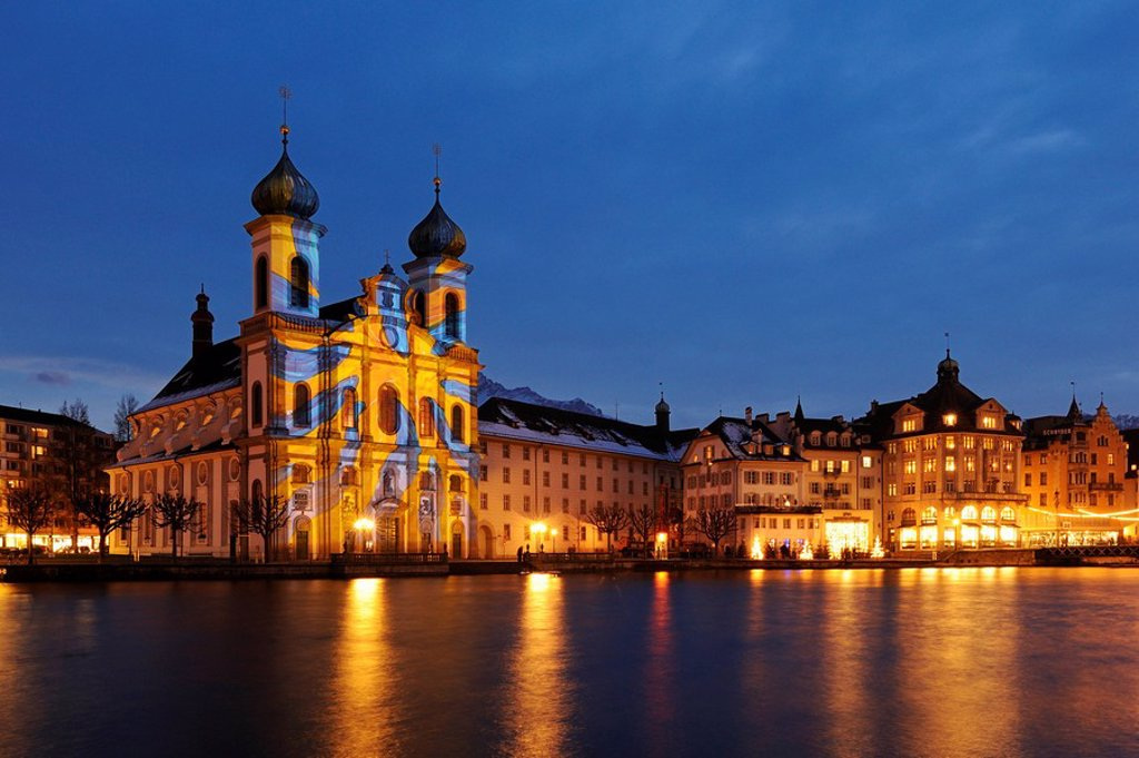 Stock Photo: 1848-142323 Jesuit Church illuminated by light artist Gerry Hofstetter with Christmas light, Lucerne, Switzerland, Europe