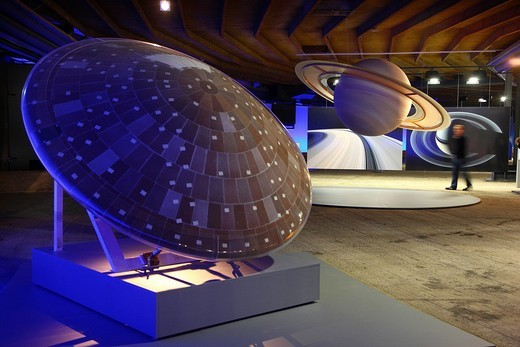 Stock Photo: 1848-142556 Three_dimensional representation of the Sun and her planets, Out of this World – Wonders of the Solar System, exhibition in the Gasometer, a former gas tank, Oberhausen, Ruhr Area, North Rhine_Westphalia, Germany, Europe