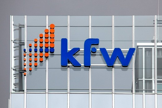 Logo at the headquarters of the KfW banking group, Kreditanstalt fuer Wiederaufbau, Reconstruction Loan Corporation, Frankfurt am Main, Hesse, Germany, Europe : Stock Photo