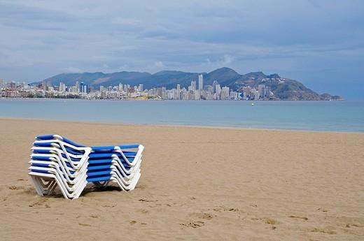 Stock Photo: 1848-142610 Empty beach, deck chairs, dark clouds, bad weather, crisis, Playa de Poniente, Ponent, beach, Benidorm, Costa Blanca, Alicante, Spain, Europe