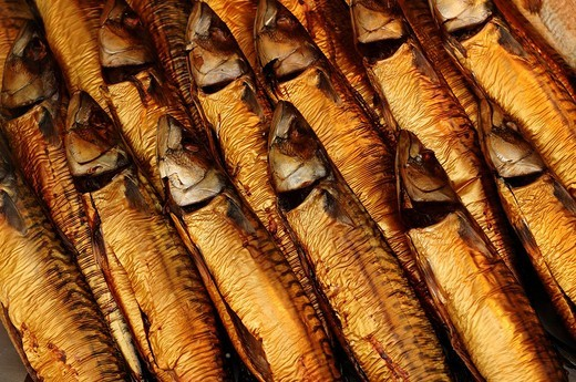 Stock Photo: 1848-142674 Smoked Mackerel Scomber scombrus in a seafood shop, Lueneburg, Lower Saxony, Germany, Europe