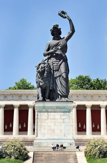 Bavaria statue with Hall of Fame at the Theresienhoehe in Munich, Upper Bavaria, Bavaria, Germany, Europe : Stock Photo