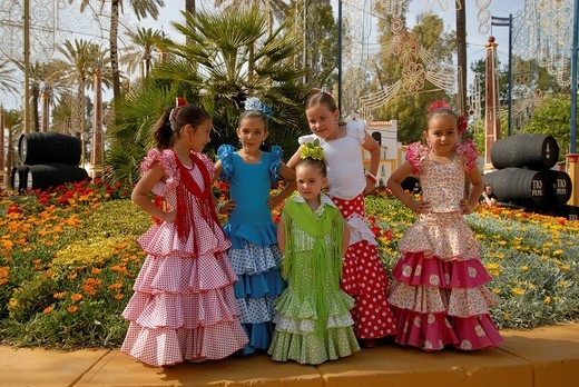 Girls in traje de gitana , Feria de Caballo , Jerez de la Frontera , Cadiz , Andalusia , Spain , Europe : Stock Photo