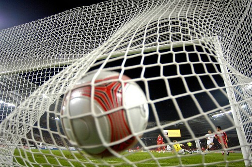 Ball in goal Gottlieb_Daimler_Stadion arena Stuttgart Baden_Wuerttemberg Germany : Stock Photo
