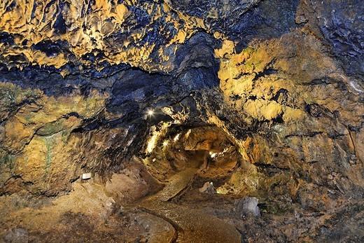 Lava cave , Sao Vicente, Madeira, Portugal : Stock Photo