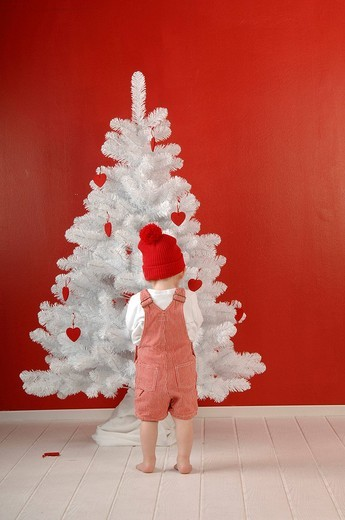 Child is decorating a Christmas tree : Stock Photo
