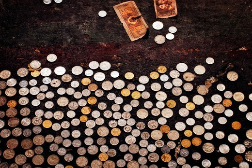Money donation, Palcho Monastery or Pelkor chode or Shekar, Gyantse, Tibet : Stock Photo