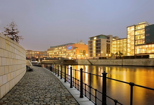 Stock Photo: 1848-143779 View over the Spree River onto the Jakob Kaiser House and ARD Studios, Berlin, Germany