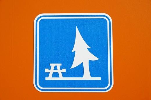 Sign, picnic area, Algar, Callosa d´en Sarria, Alicante, Costa Blanca, Spain : Stock Photo