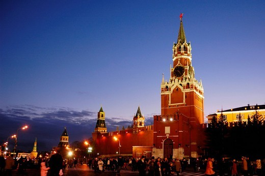 Red Square, The Kremlin at night, Moscow, Russia : Stock Photo