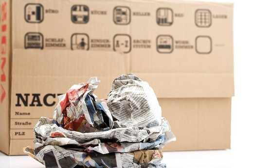 Moving box and packed household effects : Stock Photo