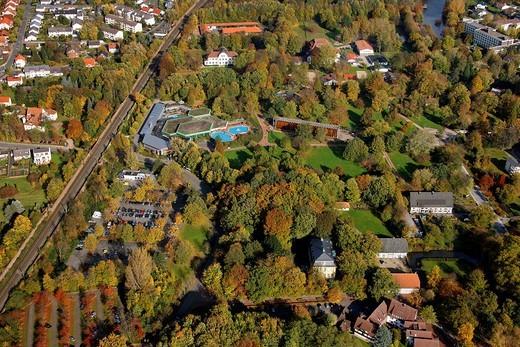 Aerial photo, spa gardens with saltern, swimming pool, Bad Sassendorf, Soest district, Soester Boerde, South Westphalia, North Rhine_Westphalia, Germany, Europe : Stock Photo